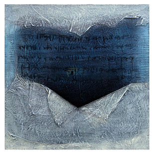 Untitled by Sanju Jain, Expressionism Painting, Mixed Media on Canvas, Blue color