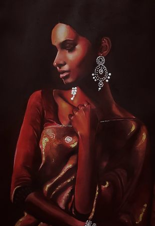 Lady in red by Akash srivastava, Expressionism Painting, Oil on Paper,