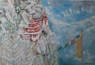 Bhutan series 1 by Sayantan Ghati, Impressionism Painting, Oil on Canvas, Gray color