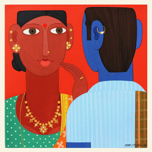 Telangana Couple -4 by Kandi Narsimlu, Expressionism Painting, Acrylic on Canvas, Red color