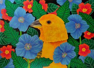 Ebullience by Sreya Gupta, Pop Art Painting, Acrylic on Canvas, Green color