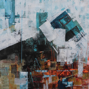 the City 13 by A.R.Ramesh, Abstract Painting, Acrylic on Canvas, Brown color