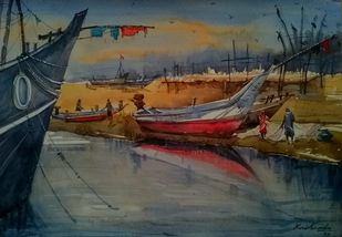 Chirala Beach by Krishnendu Halder, Impressionism Painting, Watercolor on Paper,