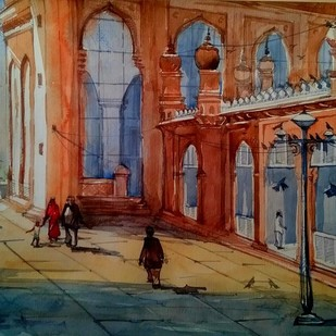 Macca Masjid series by Krishnendu Halder, Impressionism Painting, Watercolor on Paper,