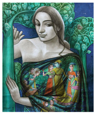 Radhika-12 by Sukanta Das, Expressionism Painting, Mixed Media on Canvas, Stromboli color