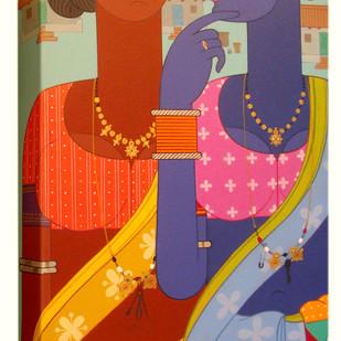 Telangana women by Kandi Narsimlu, Expressionism Painting, Acrylic on Canvas,