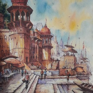 Varanasi ghats-1 by Shubhashis Mandal, Impressionism Painting, Watercolor on Paper,