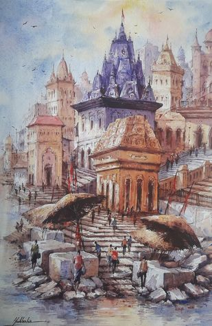 Varanasi ghat-2 by Shubhashis Mandal, Impressionism Painting, Watercolor on Paper,