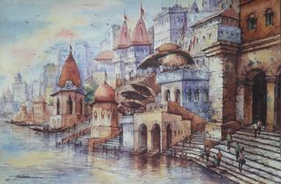 Varanasi ghats-6 by Shubhashis Mandal, Impressionism Painting, Watercolor on Paper,