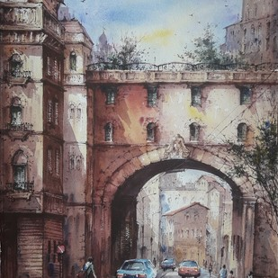 City in France by Shubhashis Mandal, Impressionism Painting, Watercolor on Paper,