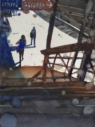 Sunday afternoon by Prashant Prabhu, Impressionism Painting, Watercolor on Paper, Gray color