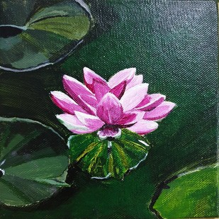 A bloom in the mud by Neha gupta, Expressionism Painting, Acrylic on Canvas, Leather Jacket color