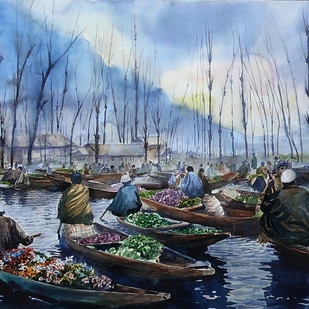 Vegetable market by Masood Hussain, Impressionism Painting, Watercolor on Paper,