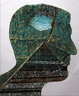 LIFE IS LIKE A RAILWAY TRACK by RITIKA DHINGRA, Expressionism Printmaking, Wood Cut on Paper,