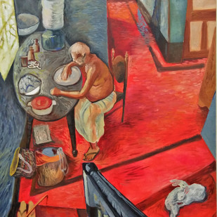 Red carpet by Sangita Chaudhuri, Expressionism Painting, Oil on Canvas, Beaver color