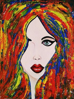 Abstracto Girl by Sweety Gupta , Expressionism Painting, Acrylic on Canvas,