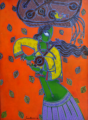 Toy Seller by Santanu Nandan Dinda, Expressionism Painting, Acrylic on Canvas,