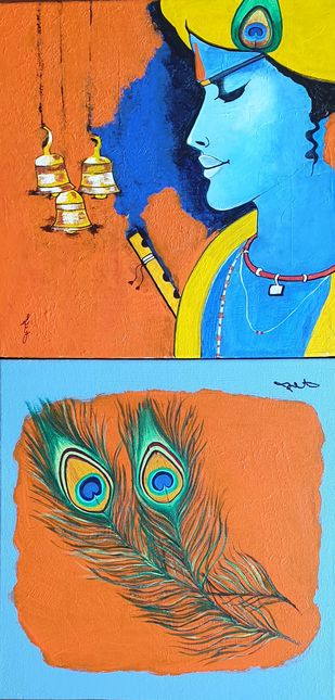 Abstracto Krishna With Peacock Feather by Sweety Gupta , Expressionism Painting, Acrylic on Canvas,