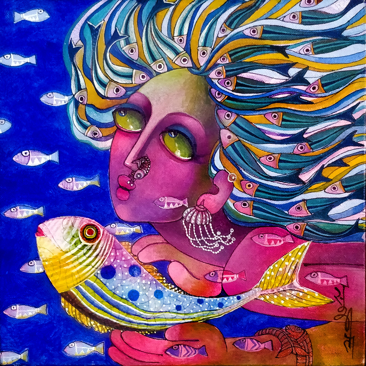 Dream by Sunita Dinda, Expressionism Painting, Acrylic on Canvas,
