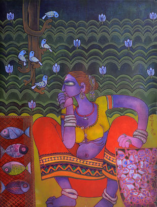 Fish seller by Sunita Dinda, Traditional Painting, Acrylic on Canvas,