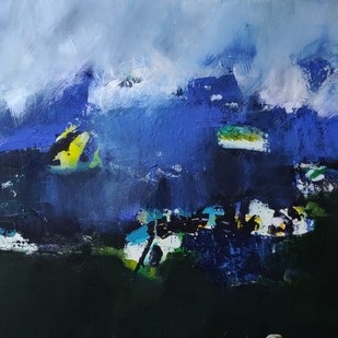 Wandering off too far by Neena Singh, Abstract Painting, Acrylic on Canvas, Blue color