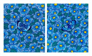 Perplexedly Pleasant (DIPTYCH) by Sreya Gupta, Expressionism Painting, Acrylic on Canvas, Matisse color