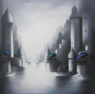 Holy Benaras by Somnath Bothe, Expressionism Painting, Acrylic & Graphite on Canvas, Grey color