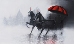 Rhythmic Monsoon Ride 1 by Somnath Bothe, Expressionism Painting, Acrylic & Graphite on Canvas, Grey color
