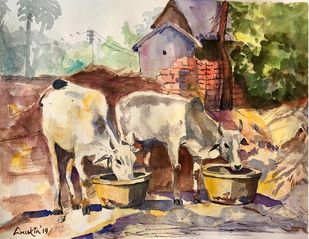 Village tales by Anukta Mukherjee Ghosh, Expressionism Painting, Watercolor on Paper, Red color