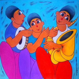 musical friends by Dnyaneshwar Bembade, Expressionism Painting, Acrylic on Canvas, Cerulean color
