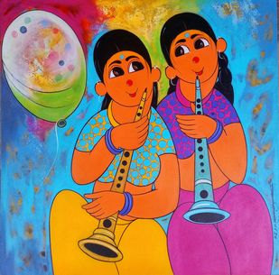 musical celibration by Dnyaneshwar Bembade, Expressionism Painting, Acrylic on Canvas, Brandy Punch color