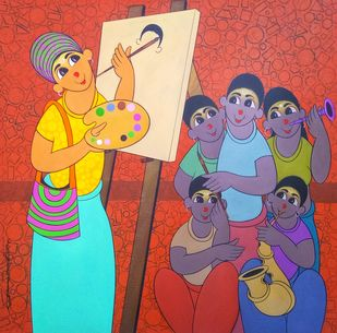 Artist demo by Dnyaneshwar Bembade, Expressionism Painting, Acrylic on Canvas, Crail color