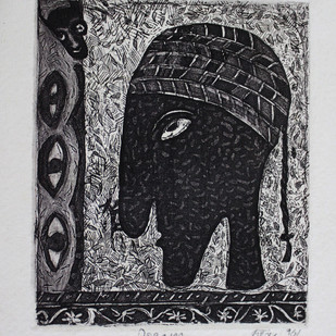 DREAM by Kanchan Chander, Expressionism Printmaking, Etching on Paper, Black color