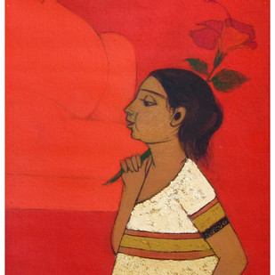 Flower-of-an-hour by Rahul Mhetre, Expressionism Painting, Acrylic on Canvas, Cardinal color