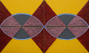 Geometrical View 132 by Sandesh Khule, Geometrical Painting, Acrylic on Canvas, Pizza color