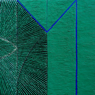 Geometrical View 148 by Sandesh Khule, Geometrical Painting, Oil on Canvas, Green color