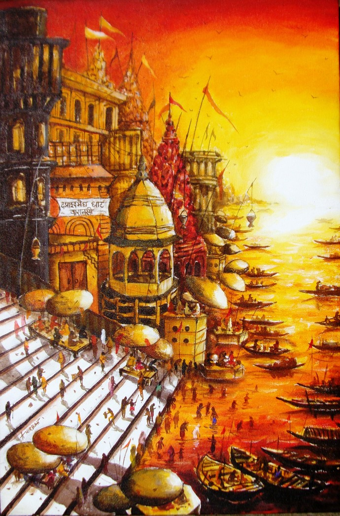 Morning Light in Varanasi XII by Anirban Seth, Impressionism Painting, Acrylic on Canvas, Cork color