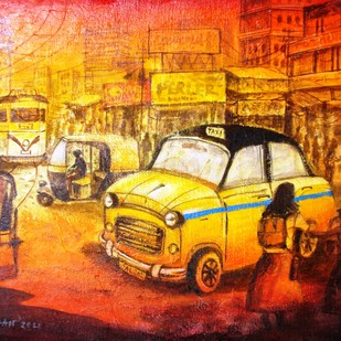 Daily Life in City of Joy Digital Print by Anirban Seth,Impressionism