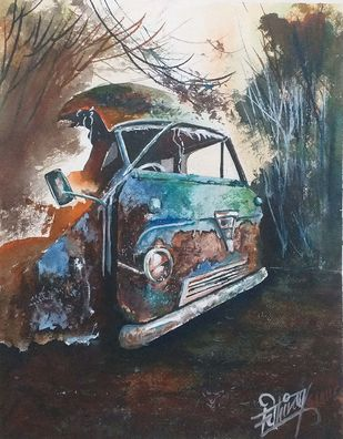 Rusty And Alone. by Chinmay Nisal, Impressionism Painting, Watercolor on Paper, Tundora color