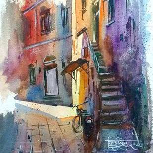 The 4 P.M. Effect by Chinmay Nisal, Impressionism Painting, Watercolor on Paper, Mobster color