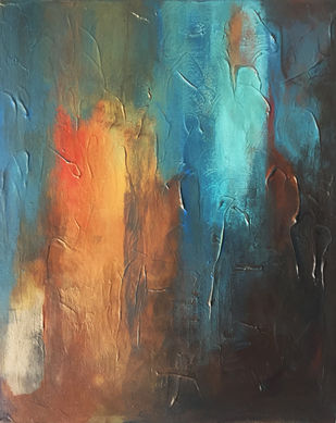 Poetry in Gold 6 by Shan Re, Abstract Painting, Acrylic on Canvas, Gray Asparagus color