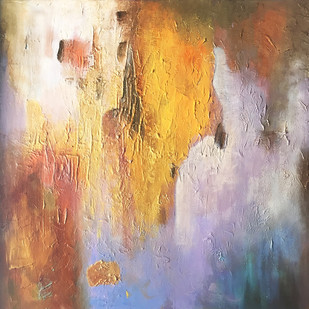 Poetry in Gold 8 by Shan Re, Abstract Painting, Acrylic on Canvas, Quicksand color