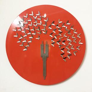 Wind Song 1 by Romicon Revola , Art Deco Sculpture   3D, Metal, Pampas color