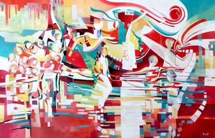 Stepping Up by Ella Prakash, Cubism Painting, Oil on Canvas, Red color