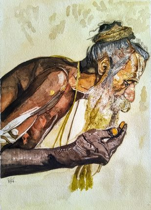 Bum Bum Bhole by Pooja Wadekar, Impressionism Painting, Watercolor on Paper, English Walnut color