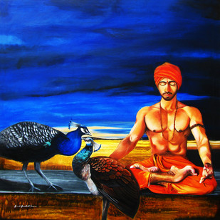 Interrelationship by yogesh verma, Expressionism Painting, Oil & Acrylic on Canvas, Bastille color