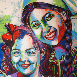 Sisters by Mahesh Kummar, Expressionism Painting, Acrylic on Canvas, Thunder color