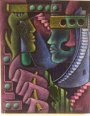 Abstract composition by Sakshi, Expressionism Painting, Acrylic on Canvas, Taupe color