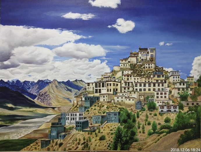 Key monastery by Sakshi, Impressionism Painting, Acrylic on Canvas, Trout color