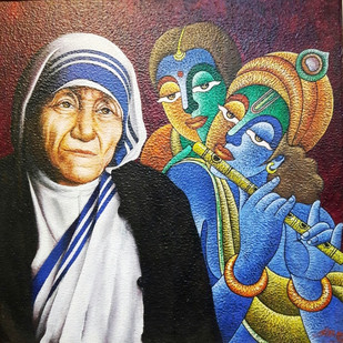 Divine Mother by HARISH KUMAR, Expressionism Painting, Acrylic on Canvas, Bone color